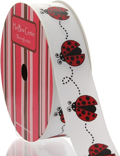 RED LADYBUG WITH FLOWERS RIBBON-7//8 INCH GROSGRAIN-5 YARDS really cute ribbon