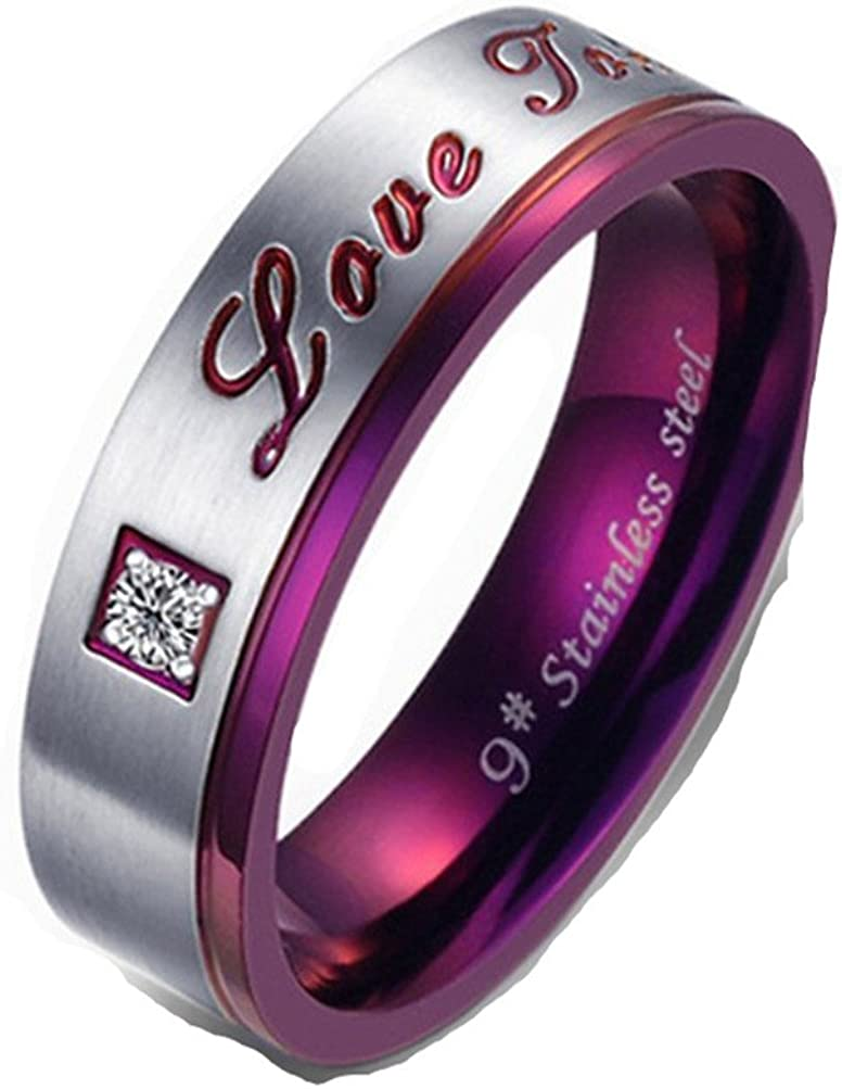 Mrsrui Real Love Promise Ring Stainless Steel Couples Wedding Engagement Bands