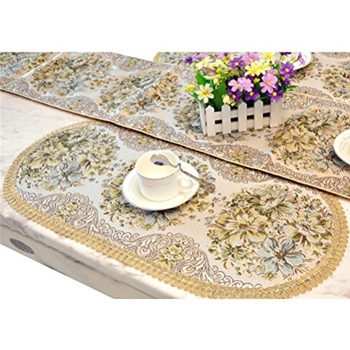Art Deco Vanity Table - BLUETOP Classic Placemats, Luxury Elegant Embroidery European Style Tassel Dining Manual Placemats Sequined Lace Hotel Coffee Dining Table Mats Green, 25