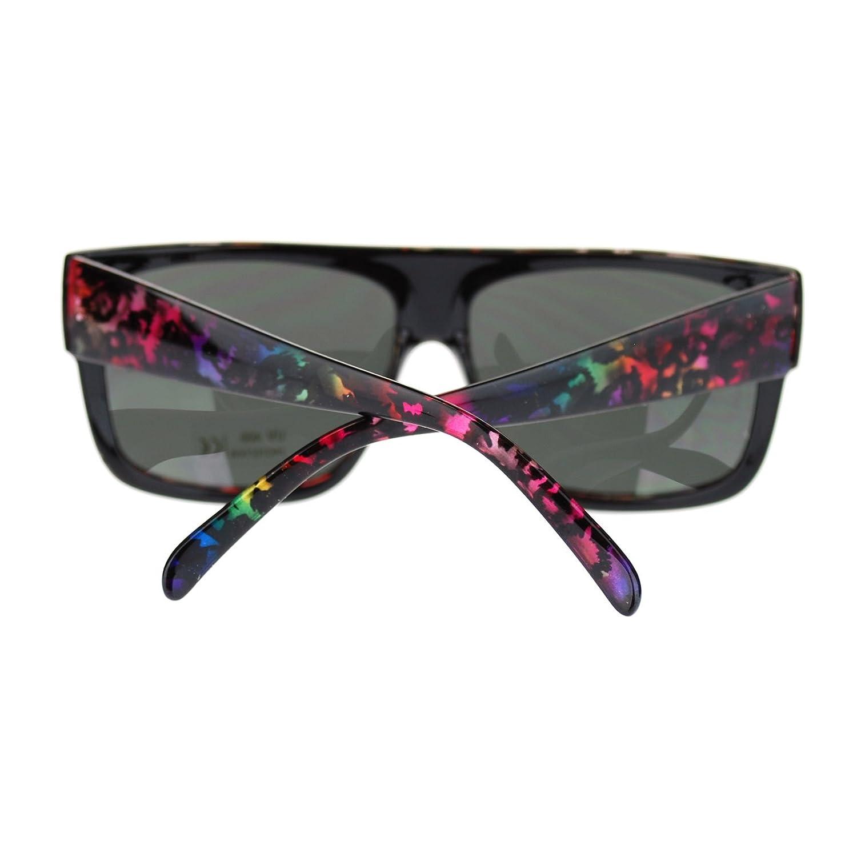 Unisex Mobster Flat Top Rectangular Metalic Animal Print Sunglasses