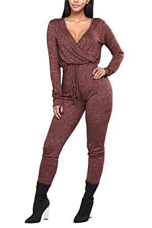 c50d493c3006 Fixmatti Women Plunge V Long Sleeve Elastic Waist Long Pant Exercise  Jumpsuit Ruby S