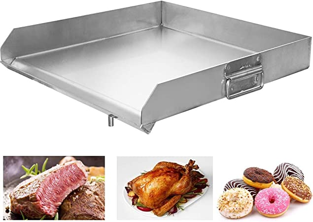 Minneer 100% Stainless Steel Universal Griddle with Even Heat Cross Bracing and Integral Handles for Charcoal/Gas Grills, Camping, Tailgating, and Parties (32