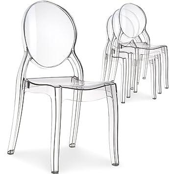 menzzo lot de 4 chaises diva plexi transparent - Chaise Plexi Transparente