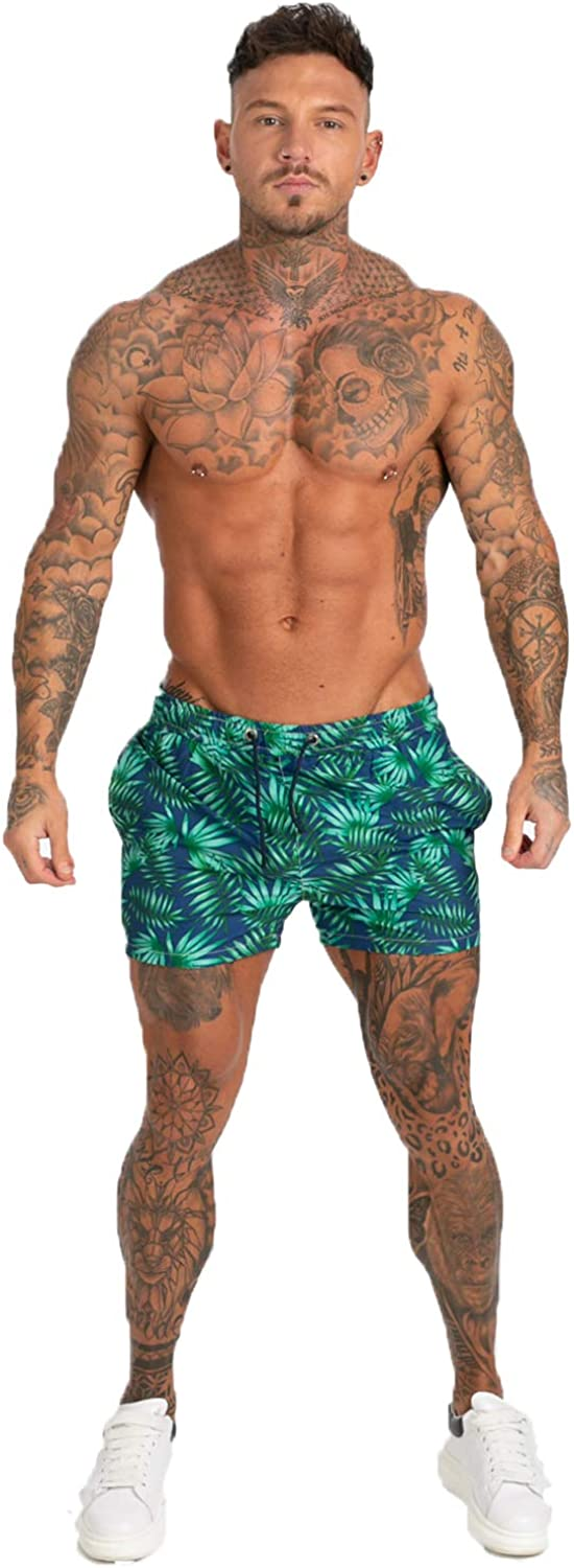 GINGTTO Mens Beach Shorts Bathing Suits with Mesh Lining