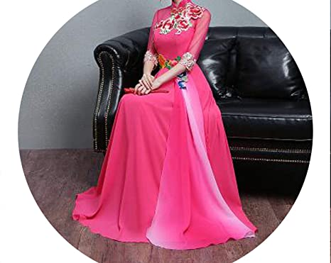794b922f7 Blue Qipao on Dress Antique Uniform Chinese Embroidered red Wedding Dresses ,1,S