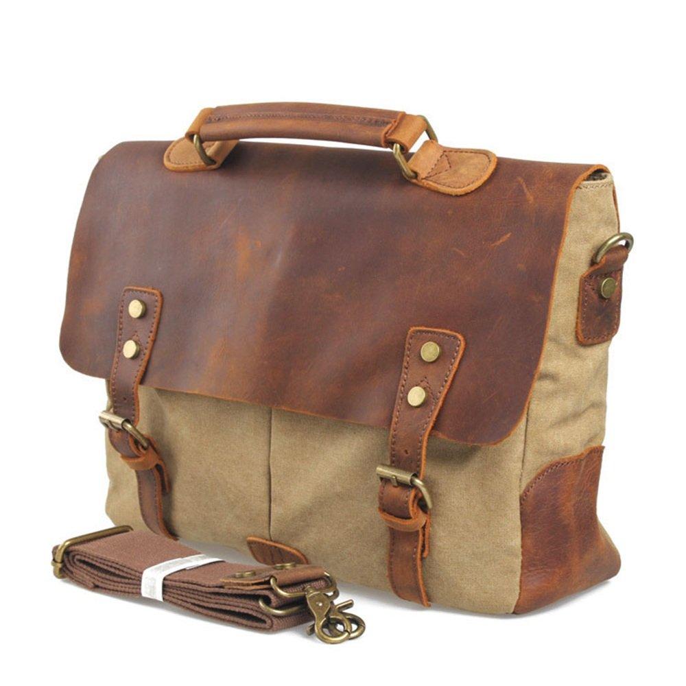 Y/αY/α Simple Retro Zipper Waterproof Canvas Briefcase Shoulder Bag Messenger Bag Color Khaki