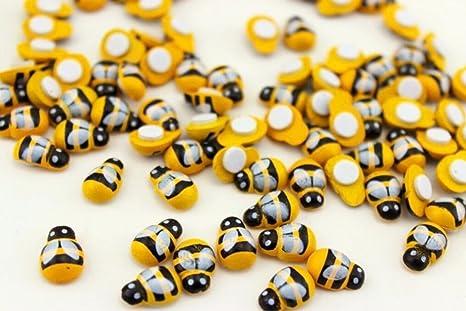 JZK 200 x Selbstklebend Mini Holz Bienen Holzbienen