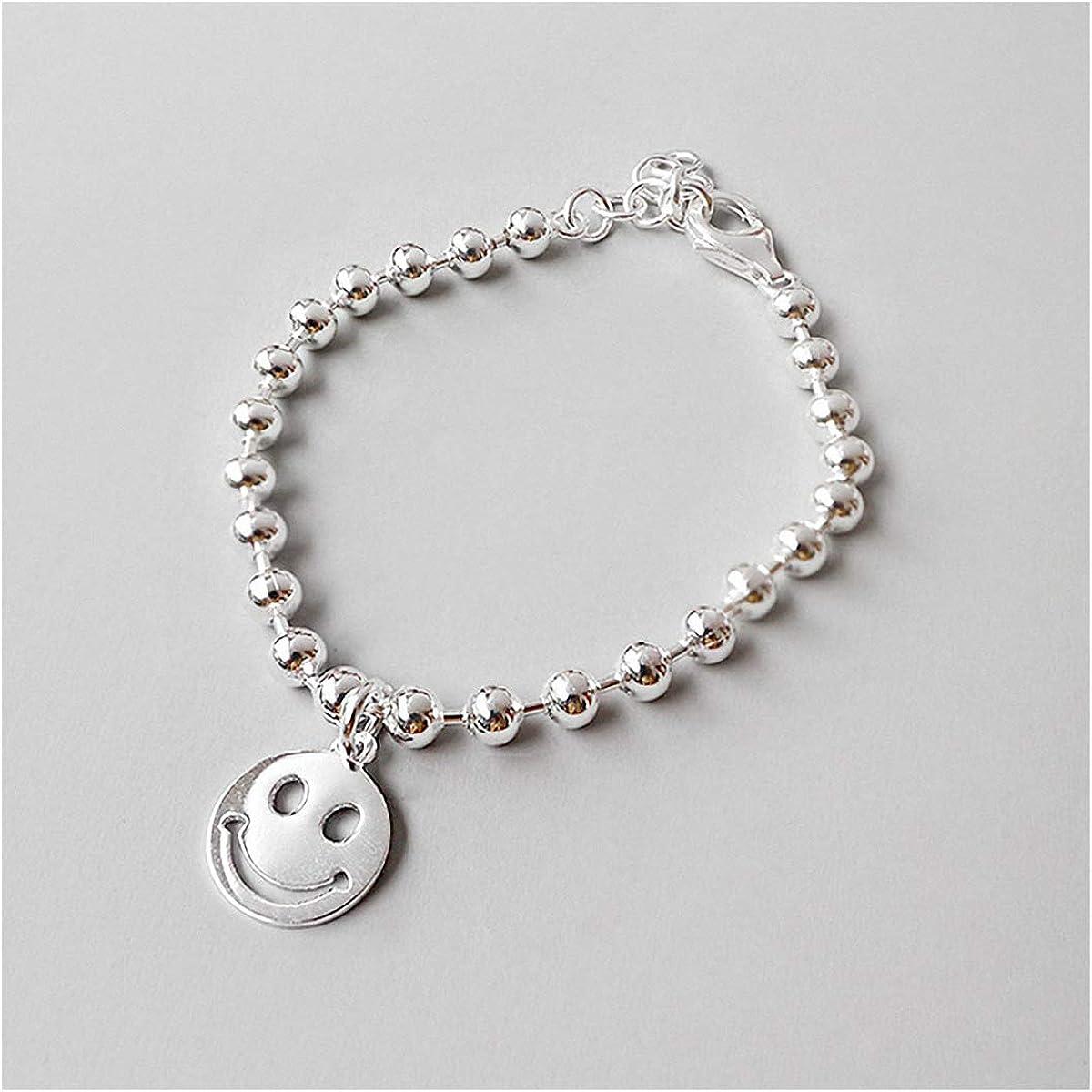Lotus Fun - Pulsera de plata de ley S925 con forma de sonriente, para niño, brillante, con perlas redondas, hecha a mano, joyas únicas para mujeres, niñas y niños
