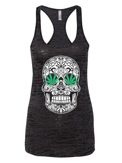 LOGOPOP Women's Mary Jane Sugar Skull 420 Burnout Tank Top, S, Black