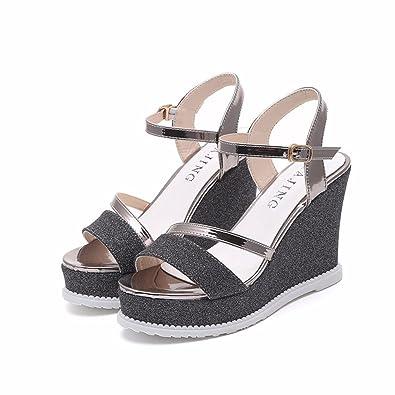 YUCH Damen Sandalen Verband mit Einfachen Dicken Sohlen Schuhe von Studenten, Schwarz, 38,