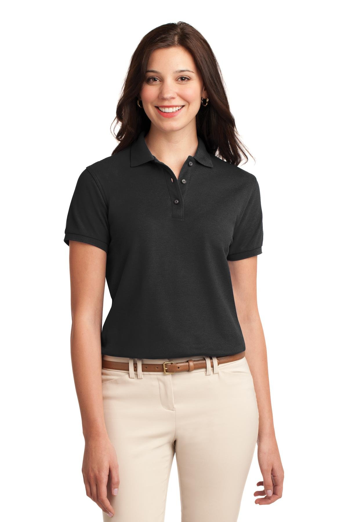 Port Authority Women's Silk Touch Polo M Black
