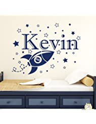 Custom Boy Name Wall Decals Space Rocket Star Decal Vinyl Nursery Kids Room Art Decor Home Sticker Mural Removable MA61 (22''Tallx29''Wide)