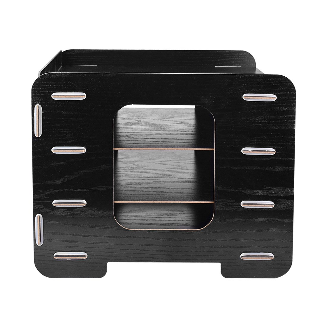 4 Trays Sorter Rack, OffKits Wood Desktop Document Organizer File Holder Wood Compartment Storage Rack Easy Assembly (Black) by OffKits (Image #3)