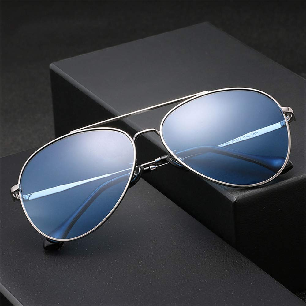 YFFS Men's and Women's Sunglasses Metal Sunglasses Driver Frog Mirror Sunglasses TAC Hd Polarized Lens (Color : Blue)