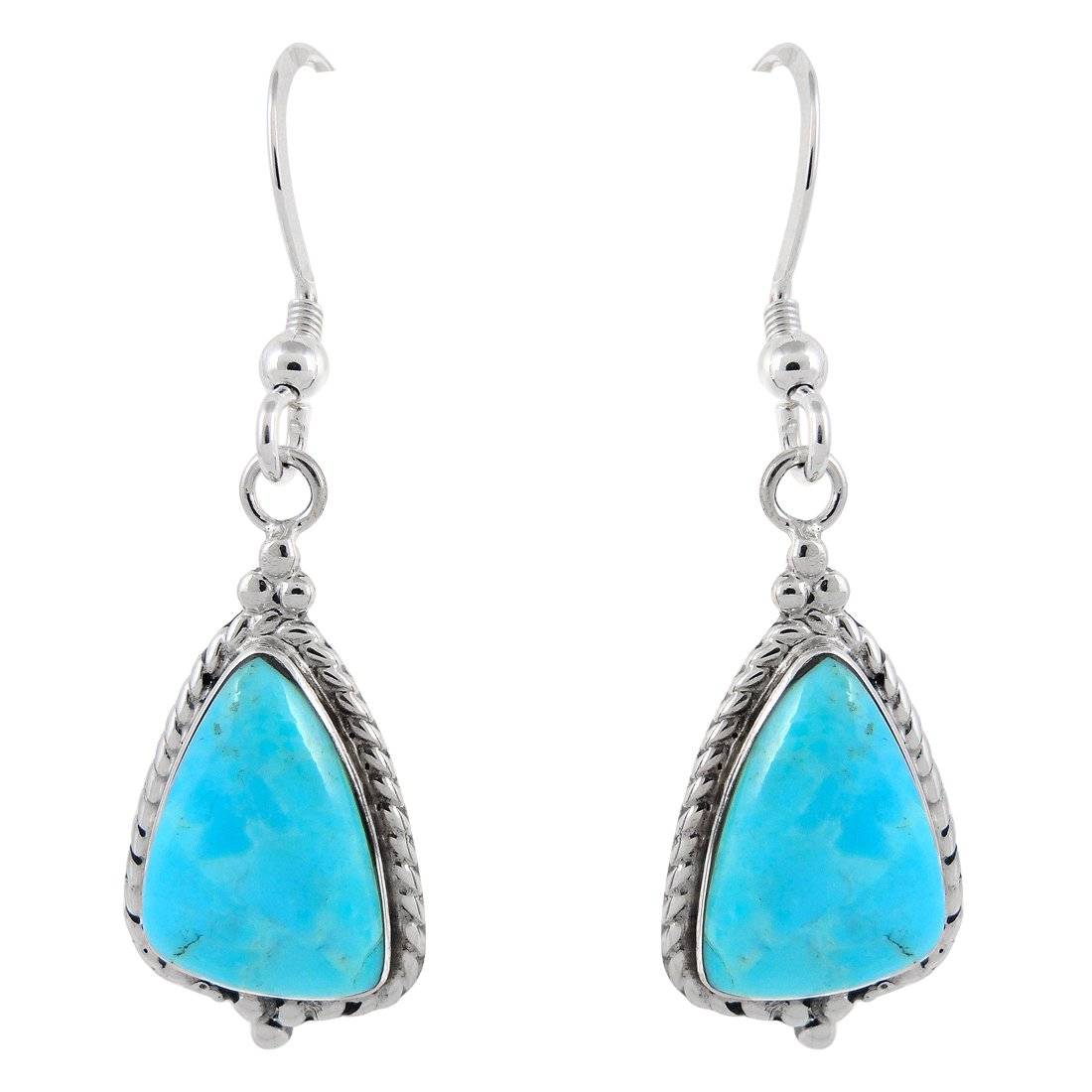 925 Sterling Silver Earrings Genuine Turquoise Drop Dangles (Turquoise)
