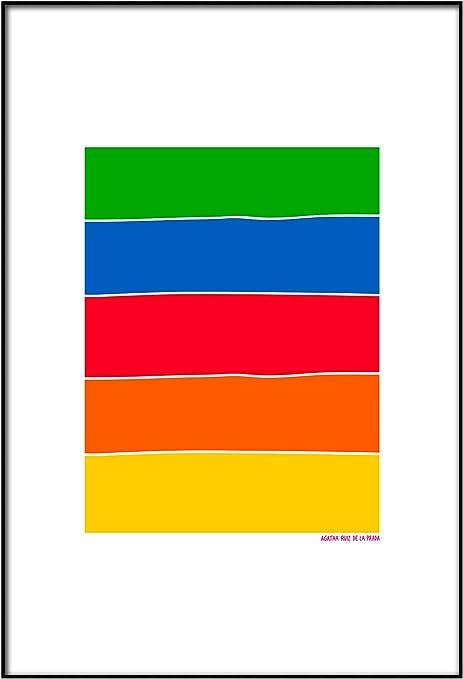 Panorama Agatha Ruiz de la Prada Cuadro de Metacrilato Enmarcado Arcoíris Bandera 50x70cm - Impreso en Metacrilato de 3mm Marco - Cuadro con Marco - Cuadros Decoración Salón: Amazon.es: Hogar