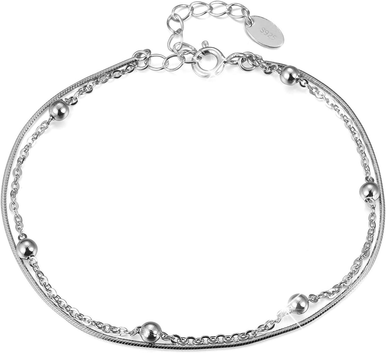 Pulsera de plata de ley 925 de Lotus Fun, minimalista, con perlas, cadena de serpiente de doble capa, pulsera natural hecha a mano, joya única para mujeres y niñas