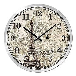 Multi-Clocks Wall Alarm Clock Clocks European Style Living Room Paris Tower Mute Simple Modern Round Black pin Silver Frame 12in(30.5cm)