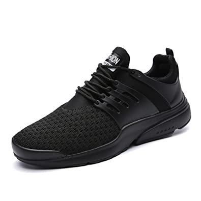 Male Casual Breathable Lace up Athletic Shoes BLACK WHITE