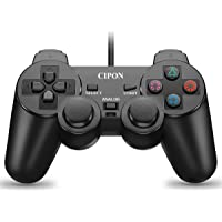 PS2 Controller Wired, Cipon Black DoubleShock Gamepad for Sony Playstation 2, Upgraded Version