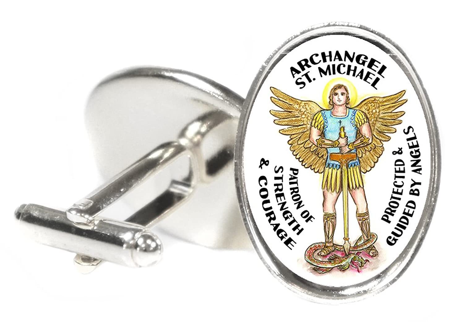 "Archangel Saint Michael Patron of Strength & Courage 18x24mm (3/4"" X 1"") Oval Silver Pair of Cuff Links"