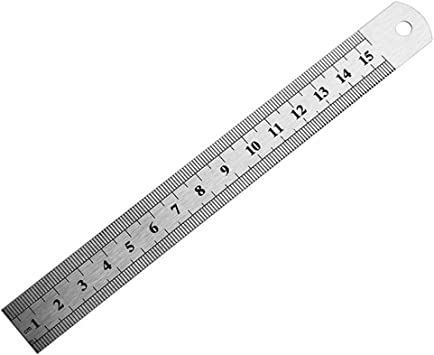 Milopon Edelstahl Lineal Metall Lineal Stahlma/ßstab Metall Gerade Lineal mit Umrechnung Tabelle Messwerkzeug 15cm 6 Inches