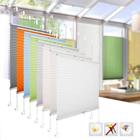 BelleMax Plissee Rollos für Fenster ohne Bohren verdunkelung Anthrazit Easyfix klemmträger verspannt 80x200 cm(BxH)