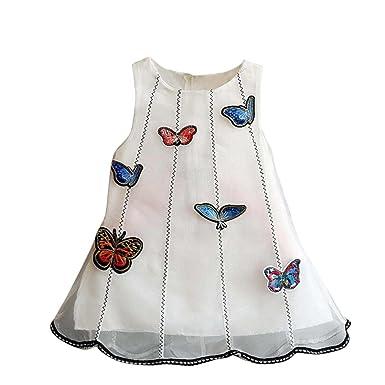 04103b128552d Amlaiworld Filles vêtements bébé Appliques Robe sans Manches de Tulle Tutu  Princesse (2 Ans