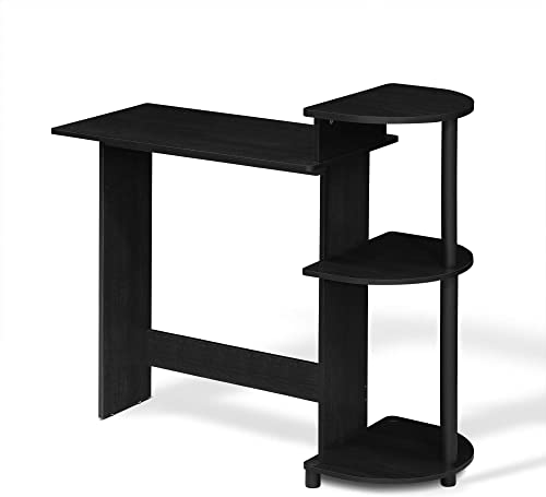 FURINNO Compact Computer Desk with Shelves, Round Side, Americano Black