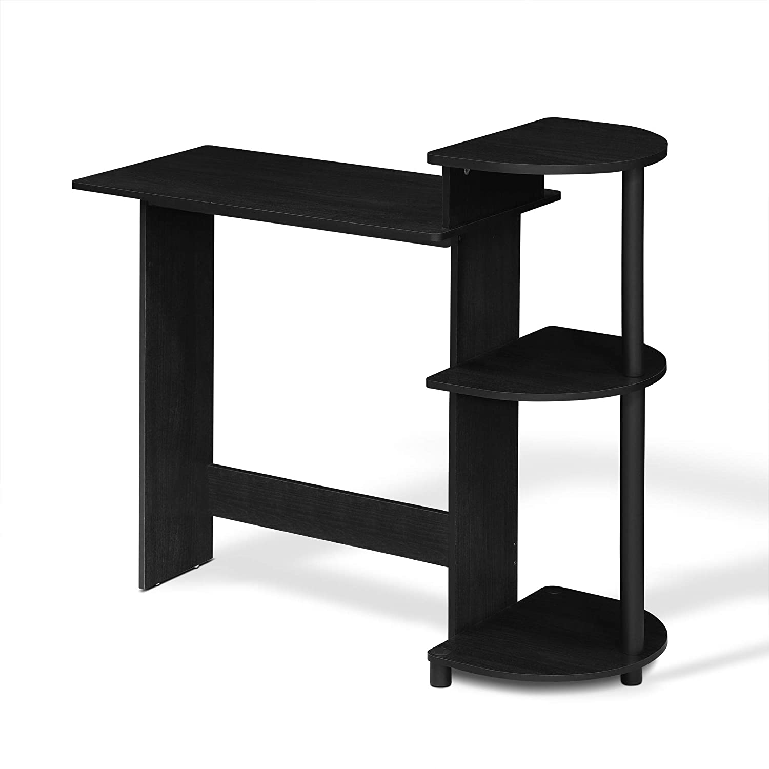 FURINNO 11181AM/BK Compact Computer Desk with Shelves, Round Side, Americano/Black