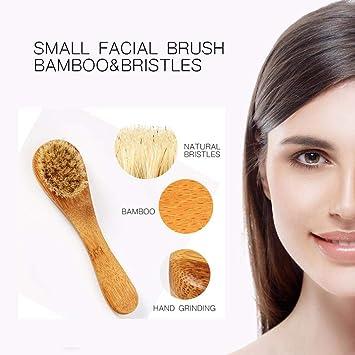 1 cepillo de exfoliación de cerdas naturales para la piel seca, cepillo para la cara