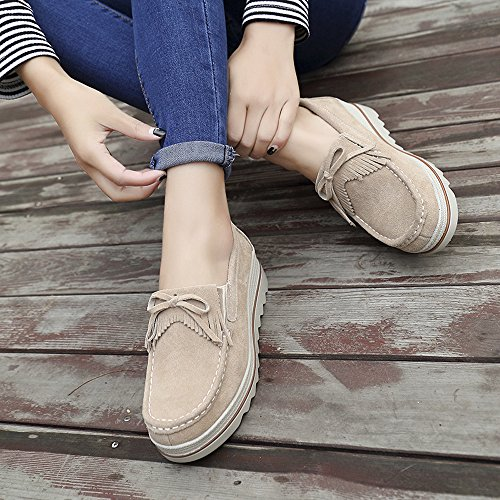 Slip Moccasins Shoes Loafers Driving Sneakers LeoVera Top On Shoes Women Platform Khaki Wedge Comfort Tassel Suede Low qvU5PETWz