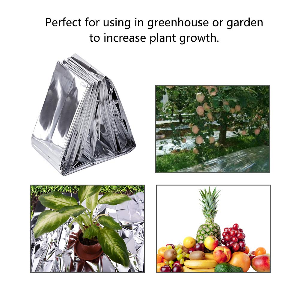 WXJ13 4 Packs 210 x 130 CM Silver Mylar Film Foil Sheet Foil Blankets with 70 Pieces Double Sided Foam Pads 2 Rolls 10M Hemp Rope for Garden Greenhouse Covering Foil Sheets Outdoors Hiking