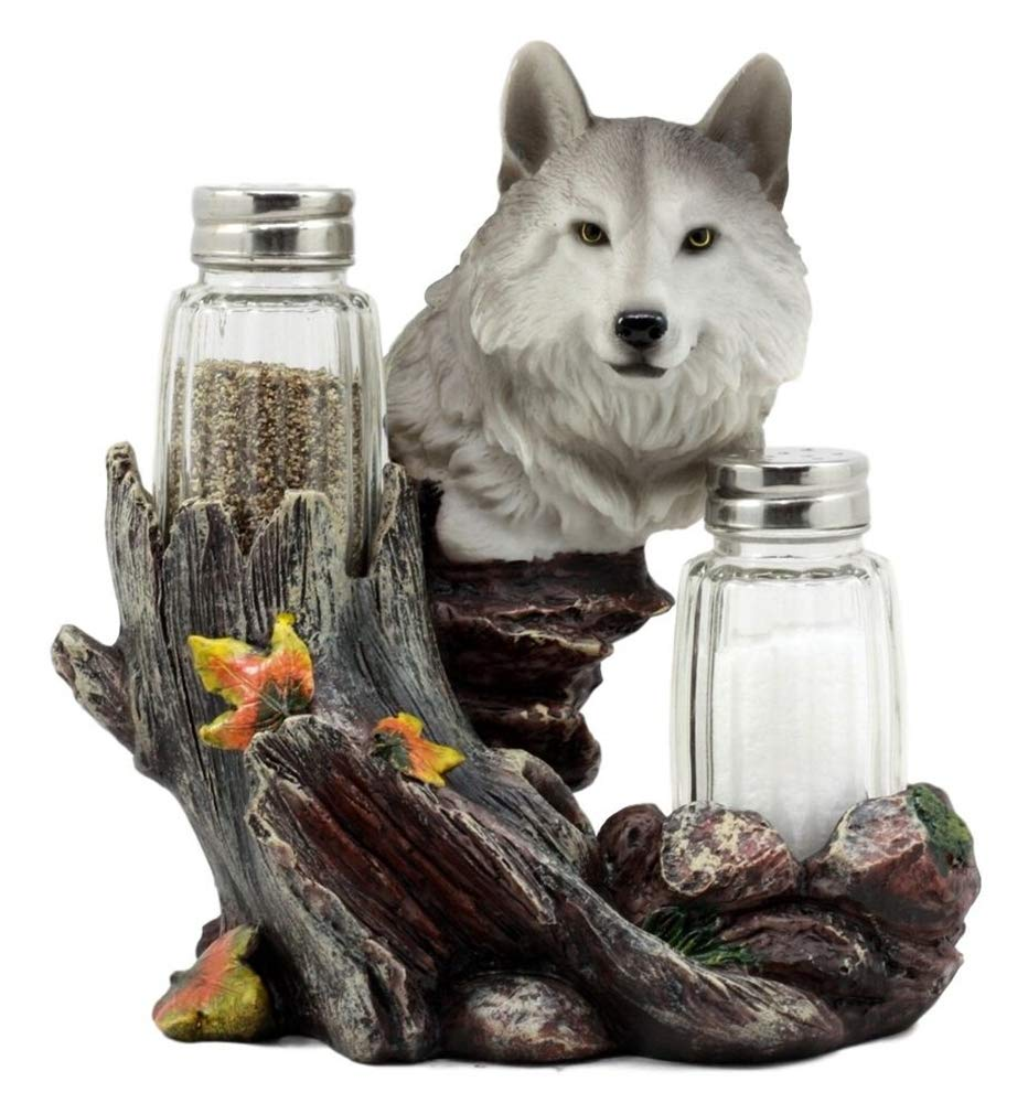 Ky & Co YK Full Moon Lone Alpha Gray Wolf Glass Salt & Pepper Shakers Holder Figurine Decor by Ky & Co