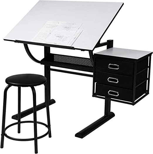 xgfhz XGF® Mesa De Dibujo con Taburete, Inclinable con 3 Cajones ...