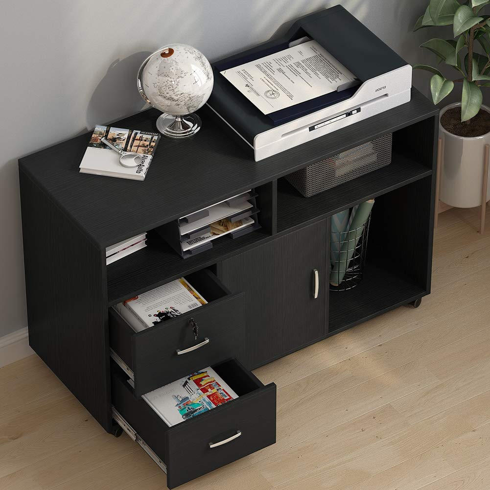 File Cabinet, Tribesigns 2 Drawer Storage Printer Stand,Mobile Lateral Filing Cabinet with Locks and Wheels, Open Storage Shelves for Study, Home Office (Black) by Tribesigns (Image #3)