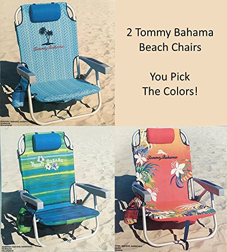 2 Tommy Bahama Backpack Cooler Chair with Storage Pouch and Towel Bar