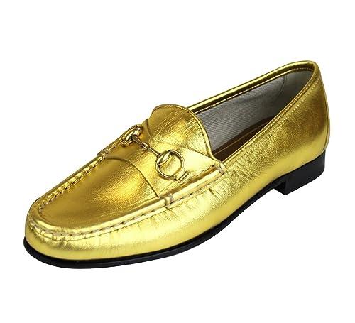 Gucci 1953 Oro Cuero Mocasines Hoesebit Mocasines 340677 8016 (9 U.S. / 39 se)