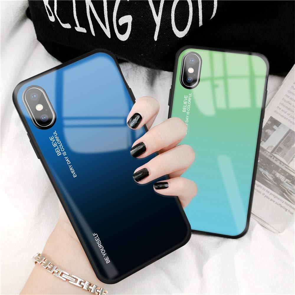 Caler H/ülle Kompatibel mit Samsung Galaxy Note 9 H/ülle 9H Geh/ärtetem Marmor Glas R/ückseite mit TPU Rahmen Schutzh/ülle Ultra D/ünn Handyh/ülle Rahmen H/üllen Sto/ßfest Slim Kratzfest Shell Case