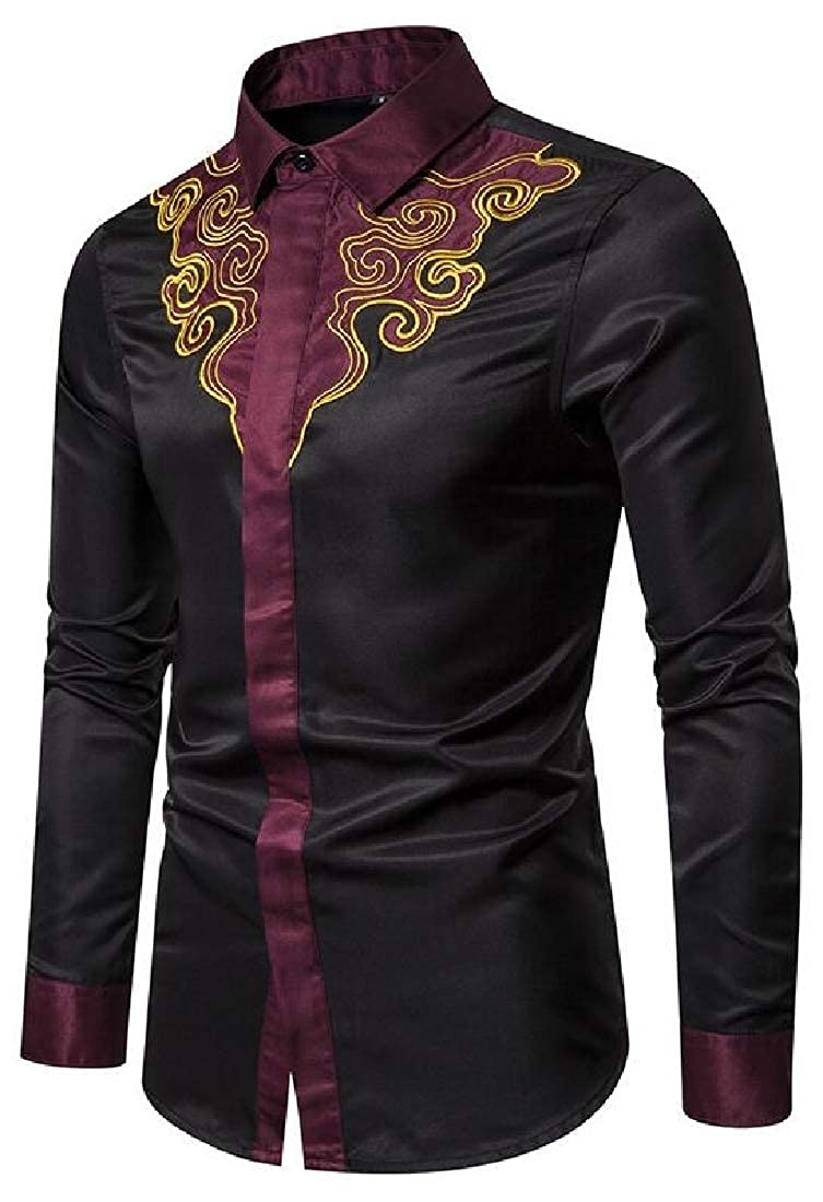 Zantt Mens Casual Long Sleeve Embroidery Vintage Contrast Court-Style Dress Work Shirt