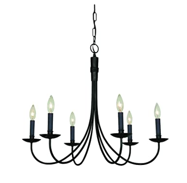 Artcraft Lighting Wrought Iron AC1786EB 6-Light Chandelier, Black