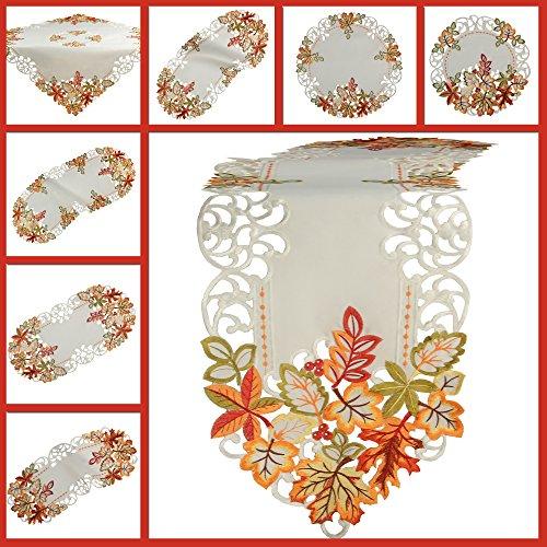 Herbst Tischläufer Tischdecke Weiß gestickt mit bunten Blätter Mitteldecke Deckchen (ca. 30 x 45 cm Oval)