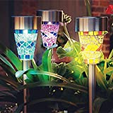 LED Solar Garden Lights, SurLight 3 Color Mosaic Solar Garden Stake Landscape Lights with Auto Sensor Function for Garden Flowerbed Path Walkway Patio Lawn Outdoor Decoration, 3 Pack