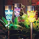 LED Solar Garden Lights - SurLight 3 Color Mosaic Solar Garden Stake Landscape Lights with Auto Sensor Function for Garden Flowerbed Path Walkway Patio Lawn Outdoor Decoration, 3 Pack