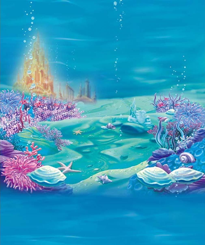 海の下の城 8 x 10フィート マーメイド 誕生日パーティー フェアリーテール 水中 世界 景色 写真 背景 ブース 撮影用小道具   B07G72SP9C