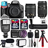 Holiday Saving Bundle for D3300 DSLR Camera + Tamron 70-300mm Di LD Lens + AF-P 18-55mm + Battery Grip + Shotgun Microphone + LED Kit + 2yr Extended Warranty + 32GB Class 10 - International Version