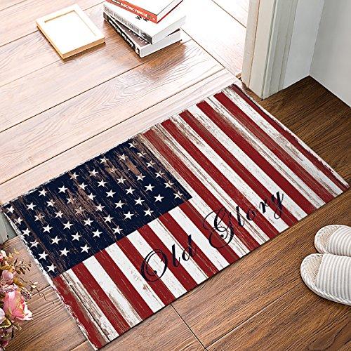 - Rubber Doormat Outdoor Door Mats Rubber Shoes Scraper for Front Door Entrance Outside Doormat American Flag Decor Retro Wood Plank Stripe