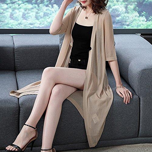 protezione scialle di di di XRXY solare di maglia protezione protezione camicia di del a abbigliamento ultrasottile sole cardigan comodo Estate femminile A lavoro condizionamento lunga seta d'aria T8qzTw