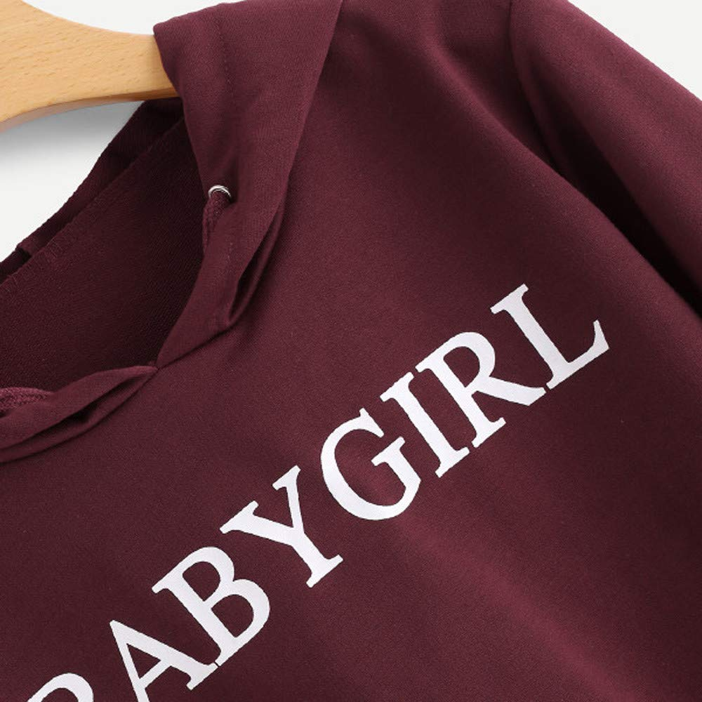Inkach Crop Tops Hoodies for Womens Long Sleeve Hooded Sweatshirt Letters Printed Pullover Blouse (M, Wine Red - Babygirl): Amazon.com: Grocery & Gourmet ...