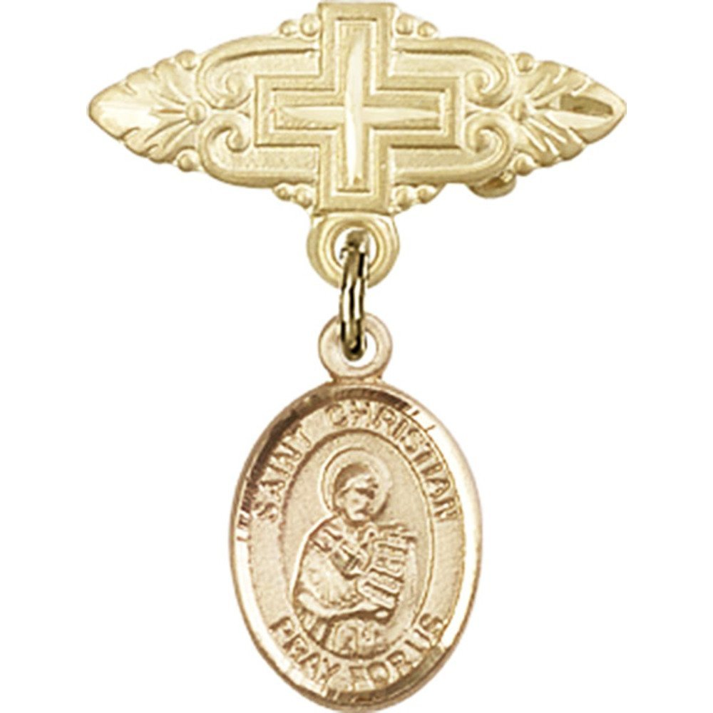 14kt Yellow Gold Baby Badge with St. Christian Demosthenes Charm and Badge Pin with Cross 1 X 3/4 inches by Unknown